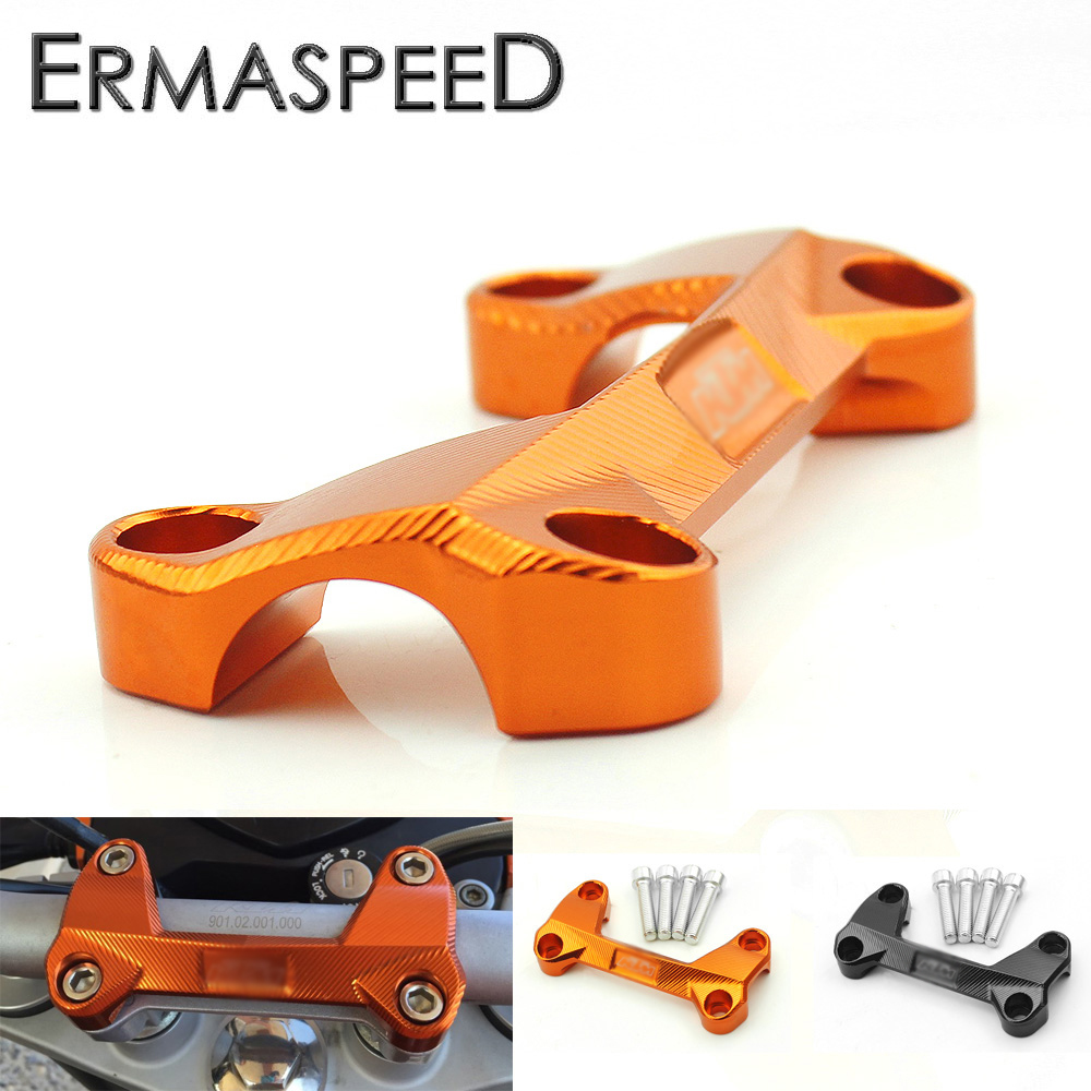 CNC Aluminum Motorcycle Handlebar Risers Top Cover Clamp for KTM DUKE 125 200 390 Motocross Orange Covers Motorcycle Accessories image