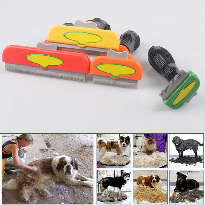 Pet Grooming Brush  Shedding Tool Comb Edge Trimming Dog Cat Fur Removal Rake