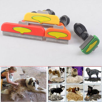 Pet Grooming Brush  Shedding Tool Comb Edge Trimming Dog Cat Fur Removal Rake double side pet fur dog brush comb rake hair brush cat grooming deshedding trimmer tool dog comb pet brush rake 12 23 blades