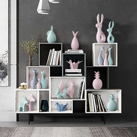 Nordic Pink Green Ceramic Deer Rabbit Figurines Home Decoration Crafts Livingroom Desktop Animal Ornaments Modern Wedding Gift