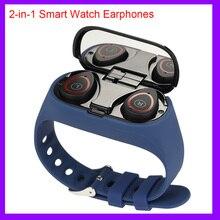 2イン1スマート腕時計メンズワイヤレスbluetooth 5.0ヘッドフォンイヤフォンフィットネスブレスレットトラッカーステップ心拍数防水スマートウォッチ