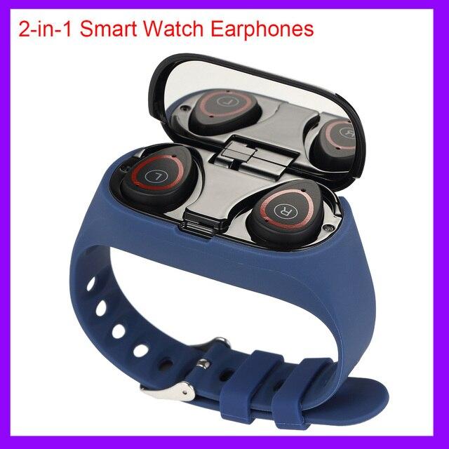 2 in 1 חכם שעון גברים אלחוטי Bluetooth 5.0 אוזניות אוזניות כושר צמיד גשש צעדים קצב לב עמיד למים smartwatch