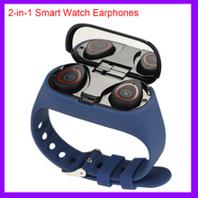 2 in 1 Smart Watch uomo Wireless Bluetooth 5.0 cuffie auricolari braccialetto Fitness Tracker passi frequenza cardiaca Smartwatch impermeabile
