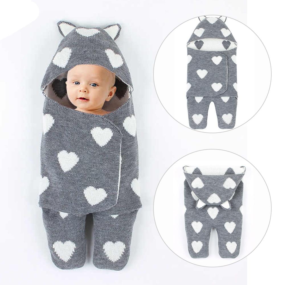 Warm Swaddle Blanket Wrap Love Heart Bedding Autumn Winter Hooded Breathable Stroller Newborn Sleeping Bag Baby Acrylic