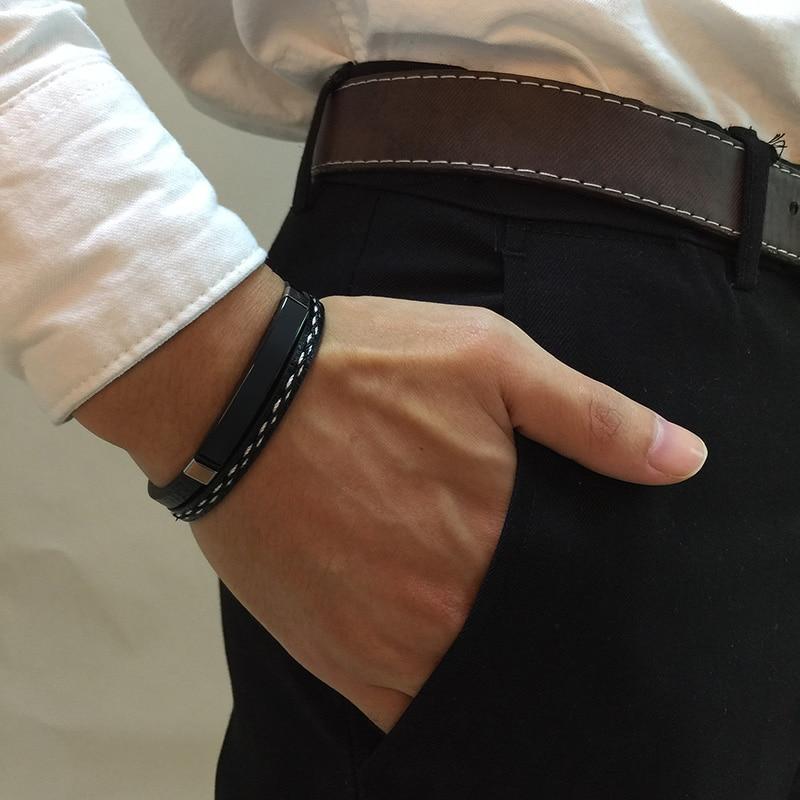 Bracelet en acier inoxydable pour hommes et femmes d'affaires, breloque avec nom personnalisé, bracelet cubain à longueur ajustable, cadeau pour garçon et femme 2
