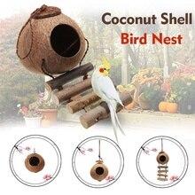 Подвесной шнур лестница Птичье гнездо дом натуральный кокосовой скорлупы Форма Pet попугаев плавники воробьи клетка для попугая