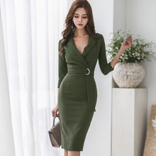 2019 Autumn Sexy Notched neck 3/4 Sleeve Soid Color Pencil Dress Women sheath Bodycon OL Dresses Wear To Work Vestidos AQ86(China)