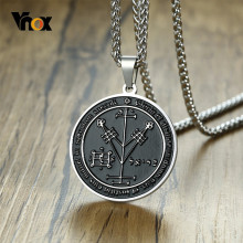 Vnox Fourth Pentacle of Jupiter Key of Solomon Seals Pendant for Men Black Stainless Steel Rock Punk Necklace(China)