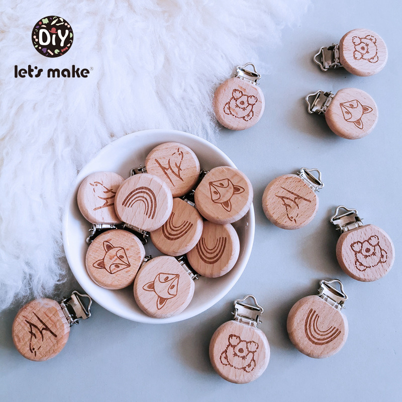 Let's Make Pacifier Clip Cartoon Engrave Wooden Soother Clip 3pcs Nursing Accessories Diy Dummy Clip Chains Wooden Baby Teether