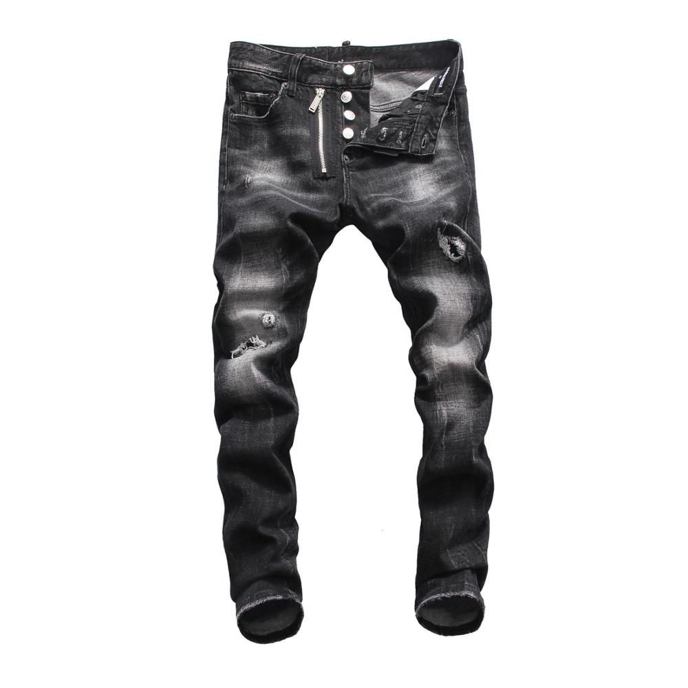 2019 DSQPLEIND2 Dsq Men's Jeans Printed With Hole Washed Casual Skinny Denim Jean For Man 100% Cotton Button Zipper Top Quality