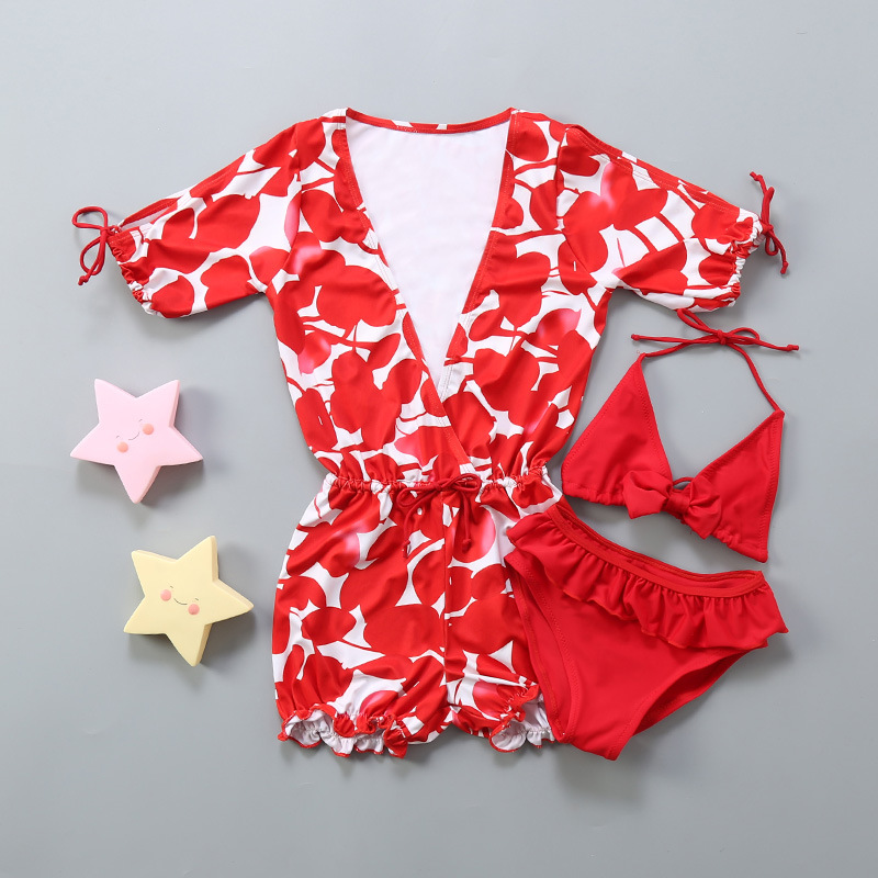 Children Hot Springs Bikini Three-piece Set GIRL'S Swimsuit Fashion Split Type Tour Bathing Suit Outer Shirt Beach Set Swimwear