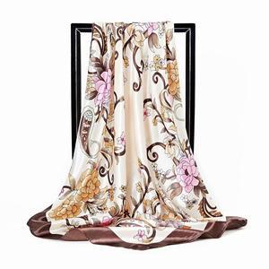 2020 Kerchief Silk Scarf Women Satin Hijab Fashion Print Handkerchief Bag Hair Scarfs Female Square Shawls Neck Scarves DH01