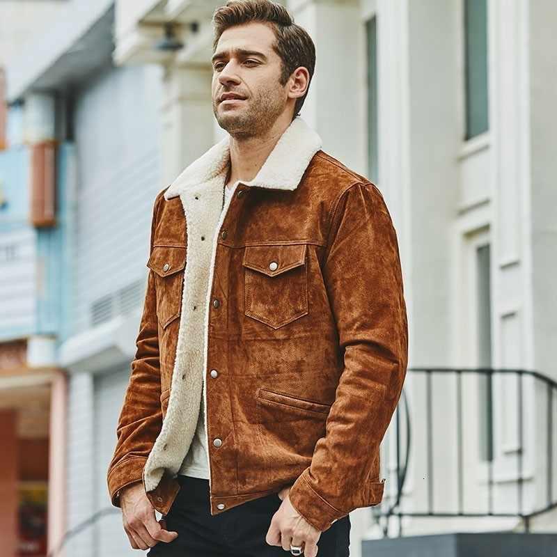 Chaqueta de piel de cerdo de marca de moda para hombre prendas de vestir calientes de la calle abrigo de motorista de alta calidad de estilo americano XS-3XL