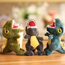 12cm Cute Plush Stuffed Toys dinosaur Keychain Fur Soft doll Key Ring  Dolls Toy Big mouth dragon Pendant N7