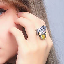 Fast delivery Good Quality Special design Rock Golden stone Ring Gun black Jewellery Party Jewelry Big rings