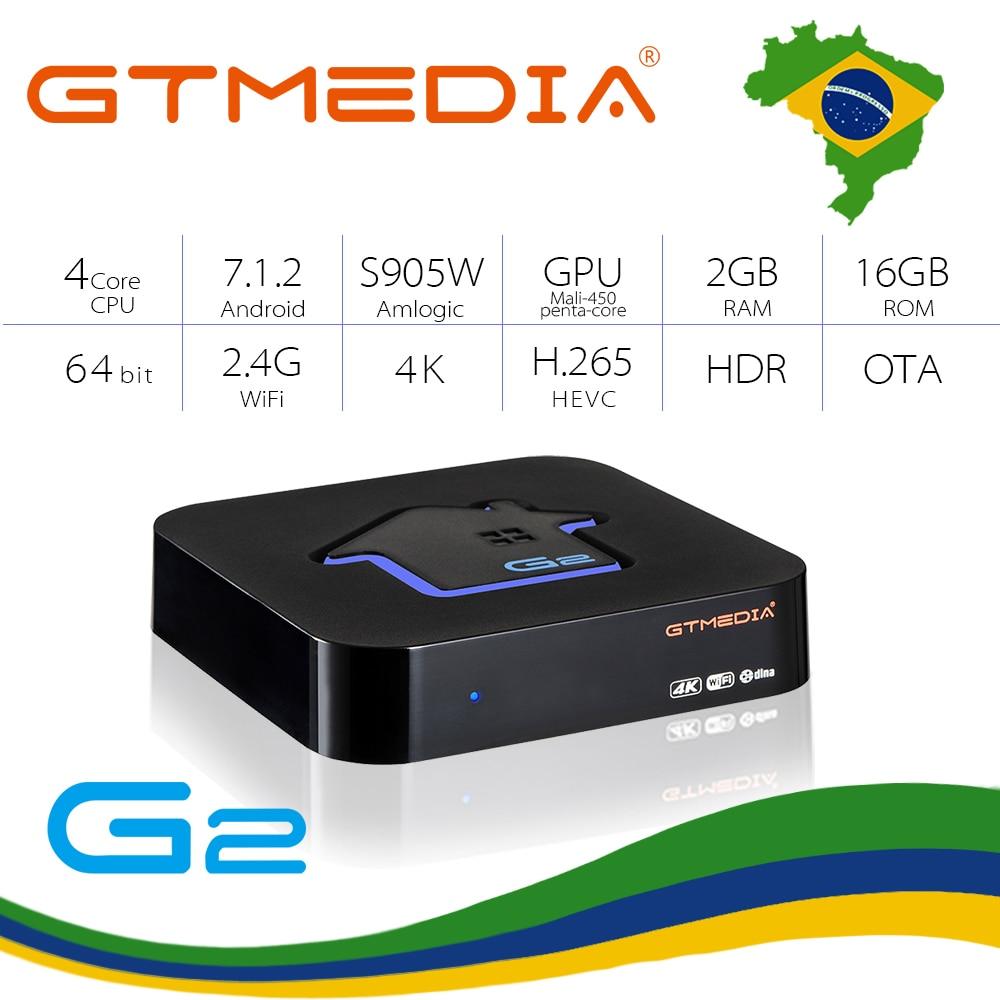 Boîte IPTV GTMEDIA G2 android tv Box H.265 WIFI navire du brésil France 6000 + Live 1500 vod adulte xxx smart iptv boîte d'abonnement