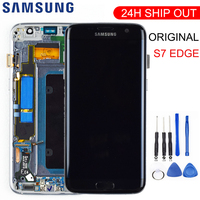 ORIGINAL 5.5'' SUPER AMOLED LCD with frame for SAMSUNG Galaxy s7 edge G935 G935F Touch Screen Digitizer Display + Service Pack