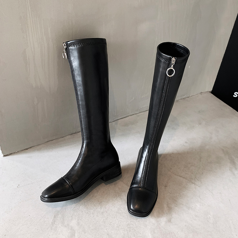 2020 hiver cuir femmes genou bottes hautes moto fourrure bout carré Zip chaussures talons bas femme équitation botte femme bottes longues 4 | AliExpress