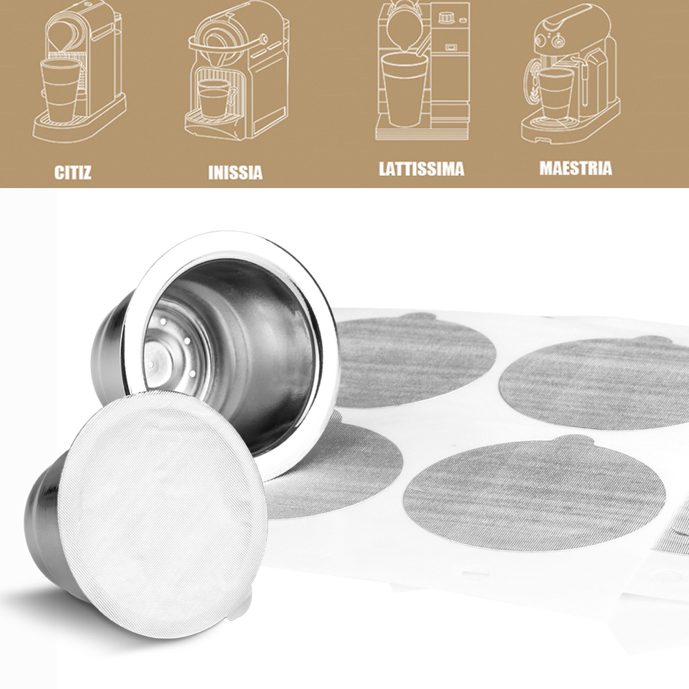 Stainless Steel For Nespresso Coffee Capsule With Disposible Foils Seals Easy Clean Reusable Cup Body