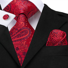 Hi-Tie 100% Silk Ties For Men Hanky Cufflinks Set 8.5cm Mens Fashion Red Wedding Party Floral Paisley Luxury Large Necktie