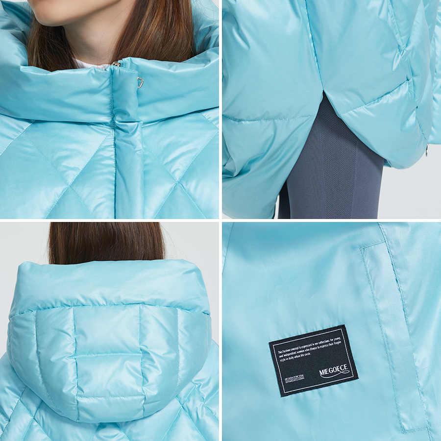 MIEGOFCE 2019 nowy projekt luksusowa damska kurtka jasne kolory dorywczo luźny płaszcz ciepły ponadgabarytowych kobiet Parka dmuchany kołnierz z kapturem
