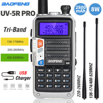 2020 baofeng UV-5R pro walkie talkie tri-band rádio em dois sentidos 8 w alta potência portátil cb ham rádio hf fm transceptor atualizar uv 5r