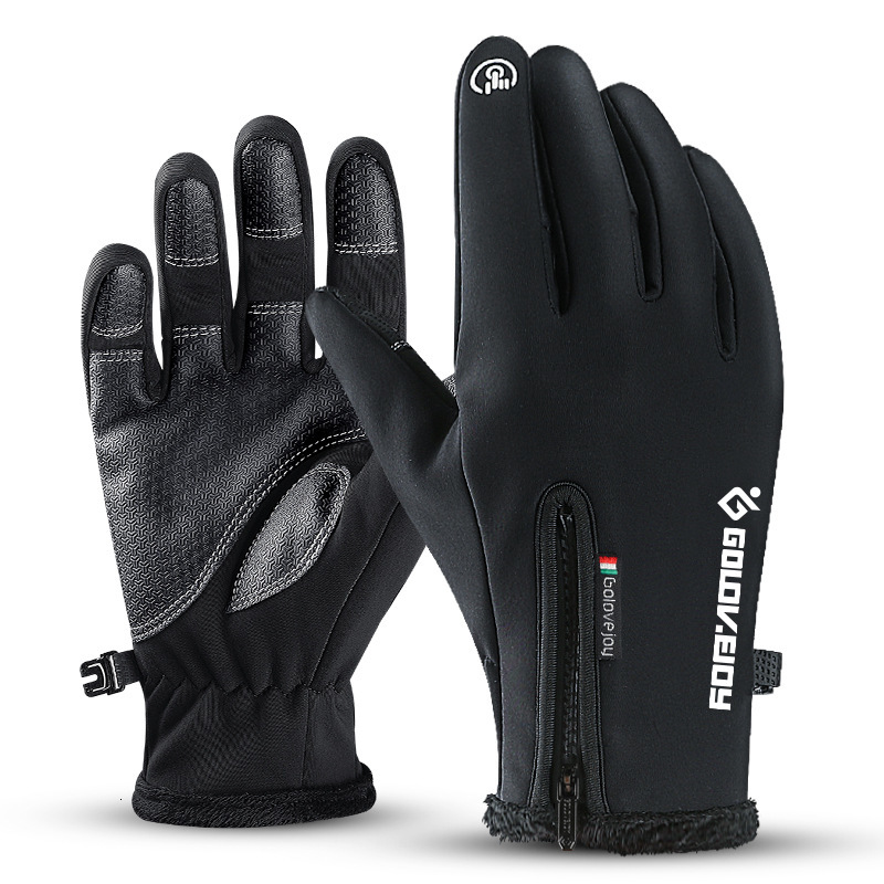 Перчатки из искусственной кожи с сенсорным экраном, мотоциклетные перчатки для сгибания пальцев, защитное оборудование, Зимние перчатки для велоспорта, мотоцикла, лыжного альпинизма - Цвет: Black