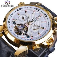 Forsining Automatic Mechanical Mens Watch Fashion Golden Tourbillon Moonphase Date Genuine Leather Business Sports Montre Homme
