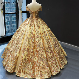 Image 4 - Robe de mariée dorée, robe de mariée luxueuse, sans manches, à épaules dénudées, avec paillettes, haut de gamme, HM66709, modèle 2020