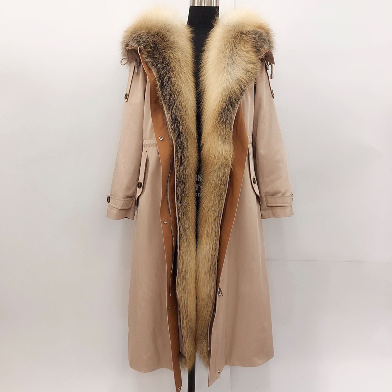 Coats Women Parkas Long-Jackets Real-Fox-Fur-Collar Rex-Rabbit-Fur Ladies Liner Fashion
