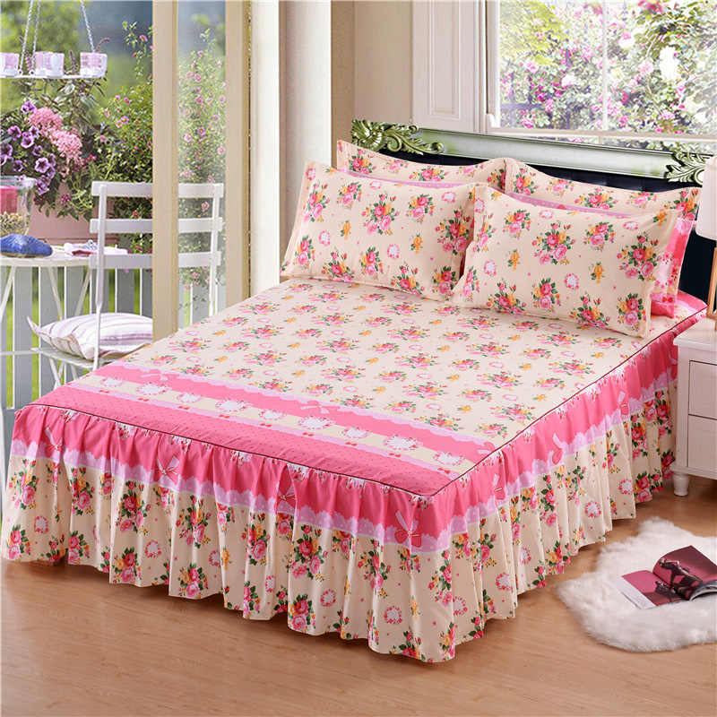 3Pcs Classic Floral Printed Bed Skirt cover Fitted Sheet Cover Bedspread Non-slip Bedroom Textile Skirt Single Full Queen Size