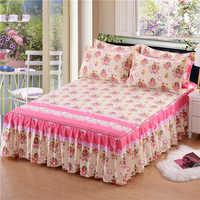 Falda de cama de una sola capa antideslizante cubierta de la hoja de cama decoración de la habitación colcha de impresión de flores + funda de almohada 3 piezas colcha de cama de casal