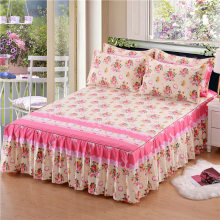 Single Layer Bed Skirt Non-slip Sheet Cover Bed Sheet Room Decor Flower Printing Bedspread+Pillowcase 3pcs colcha de cama casal(China)