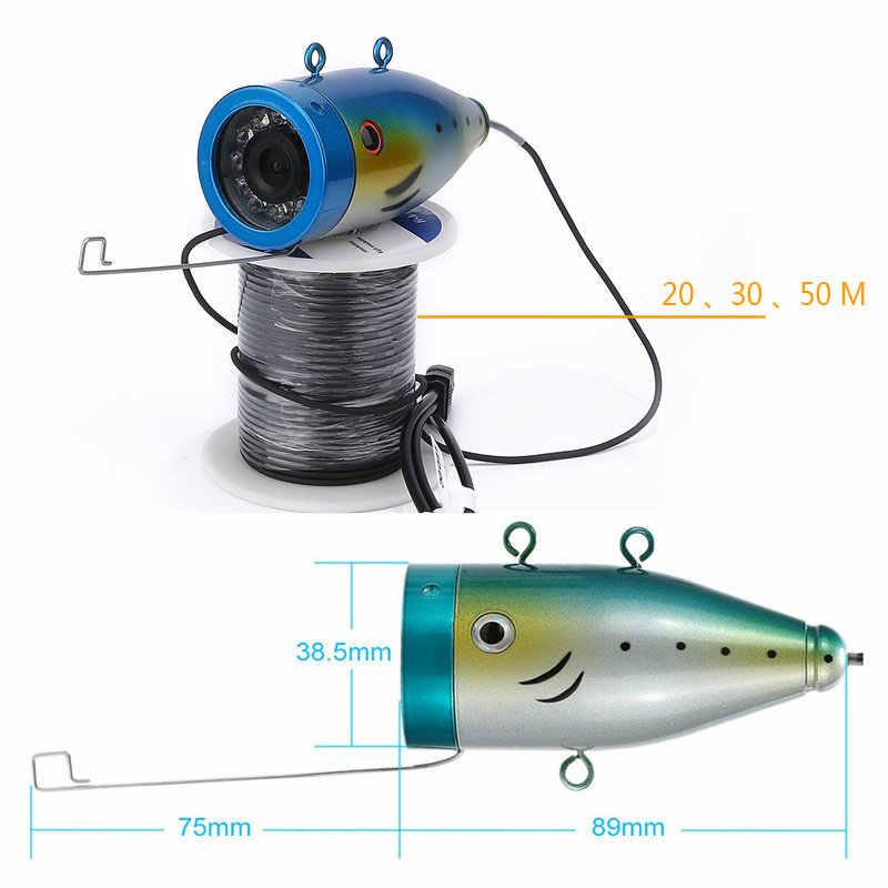 """15/20/30/50M 1000tvl Pesca Subacquea Video Camera Kit 12 PCS LED Bianco Luci with7 """"Pollici Monitor a Colori"""