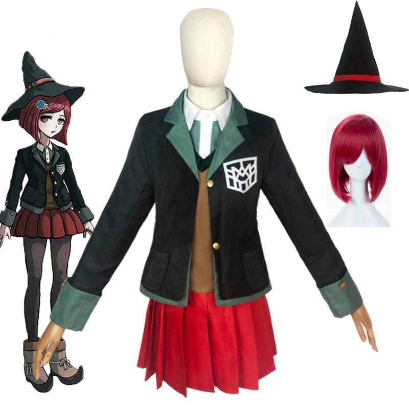 Костюм для косплея юмено химико из «волшебника» «данганронпа», школьная форма для девочек, комплект с юбкой для Хэллоуина, Волшебная Шляпа ...