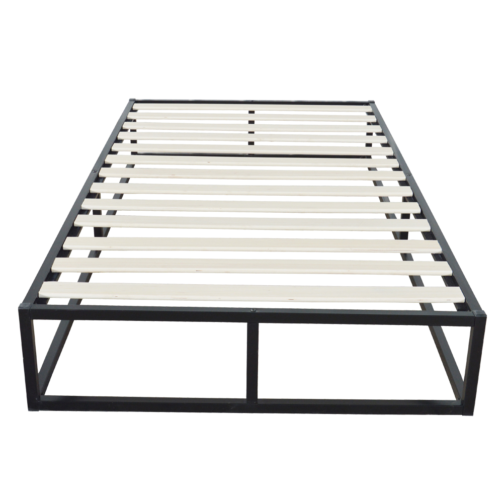Simple Basic Iron Bed Twin Size Horizontal Bar Head Of Bed Metal Platform Bed Frame Full Size Bedroom Furniture