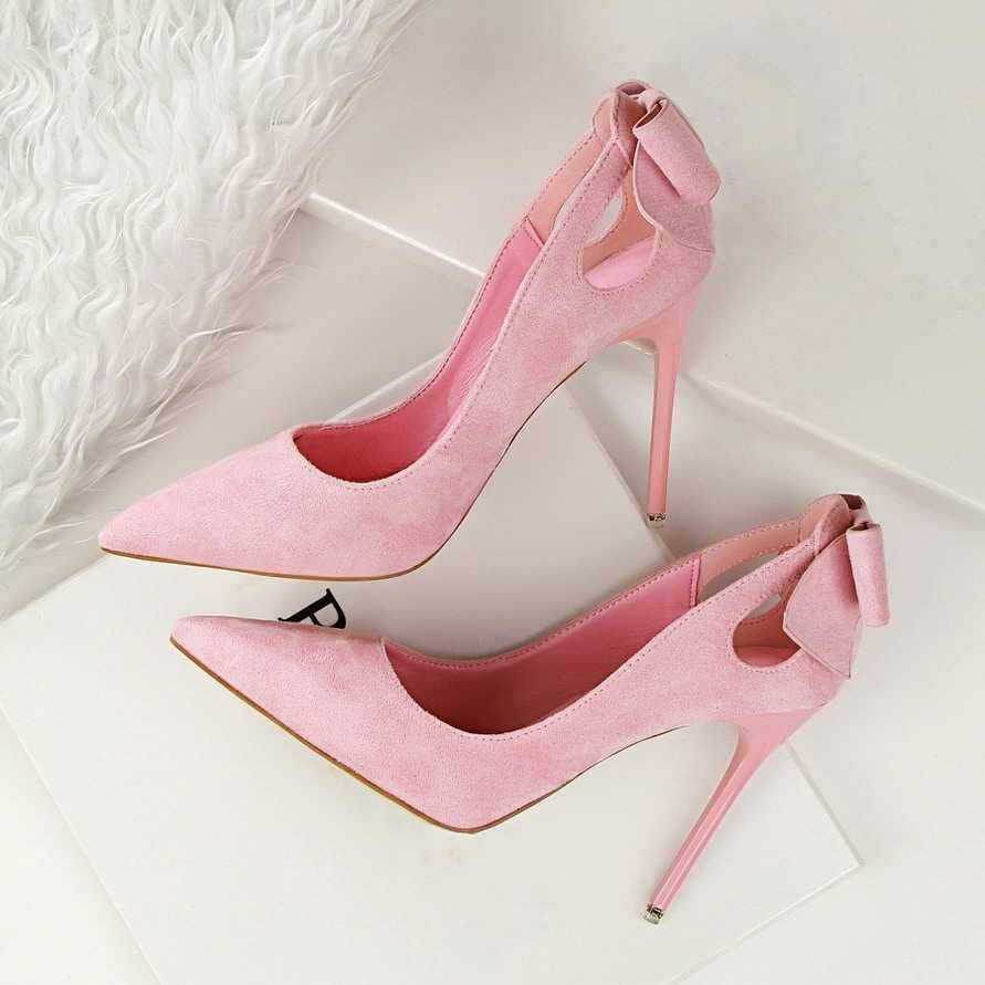 Primavera otoño Sweet Pumps arco Delgado tacones altos zapatos gamuza de tacón alto puntiagudos OL elegante Stiletto mujeres solo zapatos G3168-1