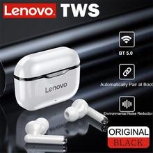 Lenovo lp1 tws fones de ouvido bluetooth 5.0 verdadeiro fones de ouvido de controle de toque esporte fone de ouvido sweatproof in-ear fones de ouvido com microfone 300mah
