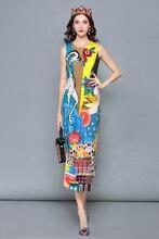 Baogarret Fashion Runway Designer Summer Dress Women Sleeveless Tank Casual Print Sequin Midi Pencil Elegant vestido