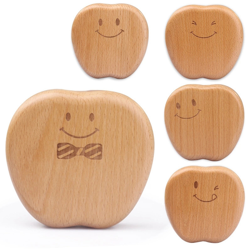 Children's Wooden Baby Tooth Box Baby Teeth Collection Tooth Fairy Box Wooden Tooth Box Baby Birthday Gift Happy Little Apple