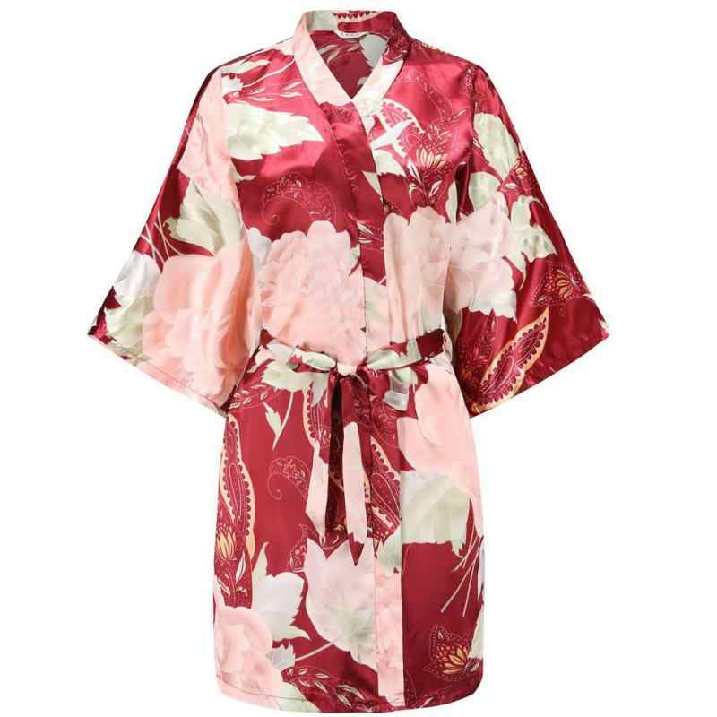 Seksi boy Robe gelin nedime düğün çiçek gecelik kadın baskı saten gecelik gevşek Kimono bornoz elbise sabahlık