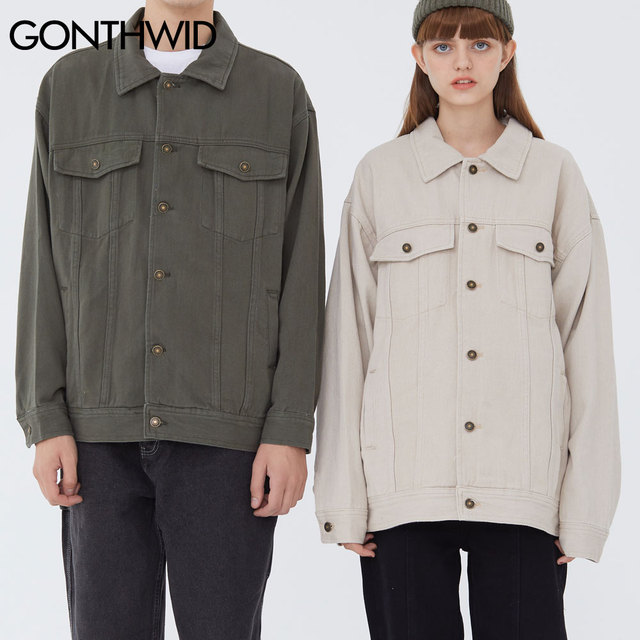 GONTHWID House Print Patchwork Denim Jackets Streetwear Mens Hip Hop Harajuku Casual Jeans Jacket Coats Harajuku Fashion Tops 5