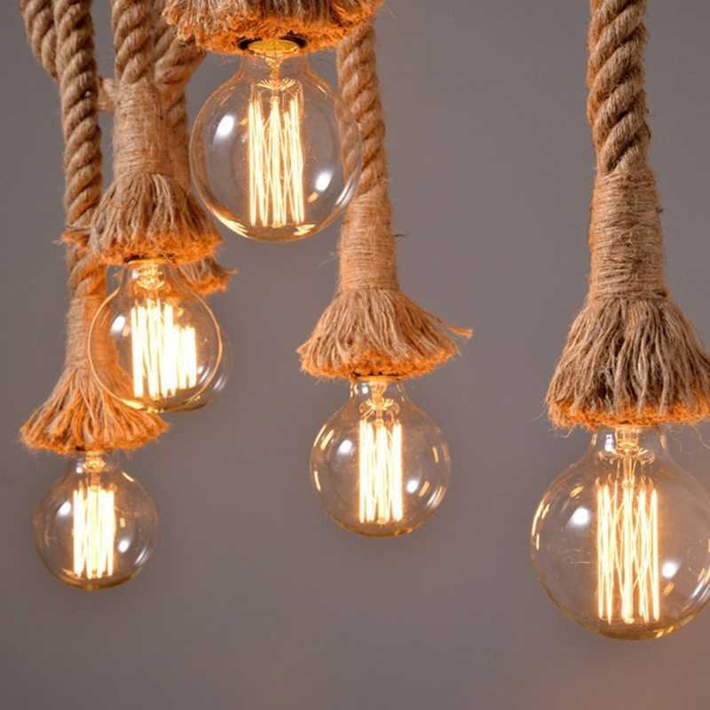 로프트 대마 로프 펜던트 조명 빈티지 레트로 산업 매달려 램프 거실 주방 홈 전등 장식 조명기구