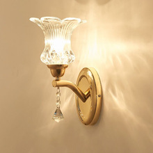 Modern Simple European Bedroom Bedside Monocephalic Wall Lamps Living Room Aisle Hotel Engineering Glass Gold Wall Lamp