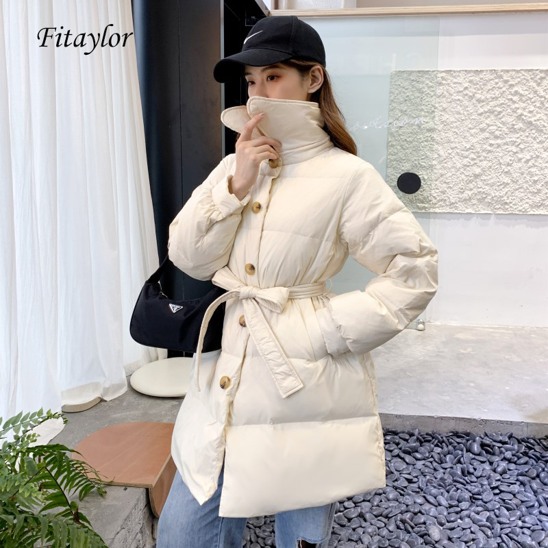 Fitaylor Winter Down Jacket Ultra Light Overcoat Women 90% White Duck Down Parka Loose Warm Single Breasted Sash Tie Up Outwear