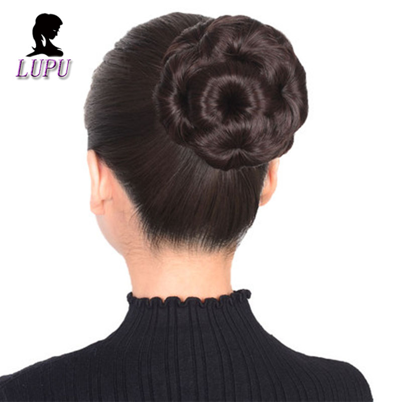 LUPU Women Curly Flower Chignon Natural Fake Hair Bun Donut Clip In Hair Extension High Temperture FIber For Women