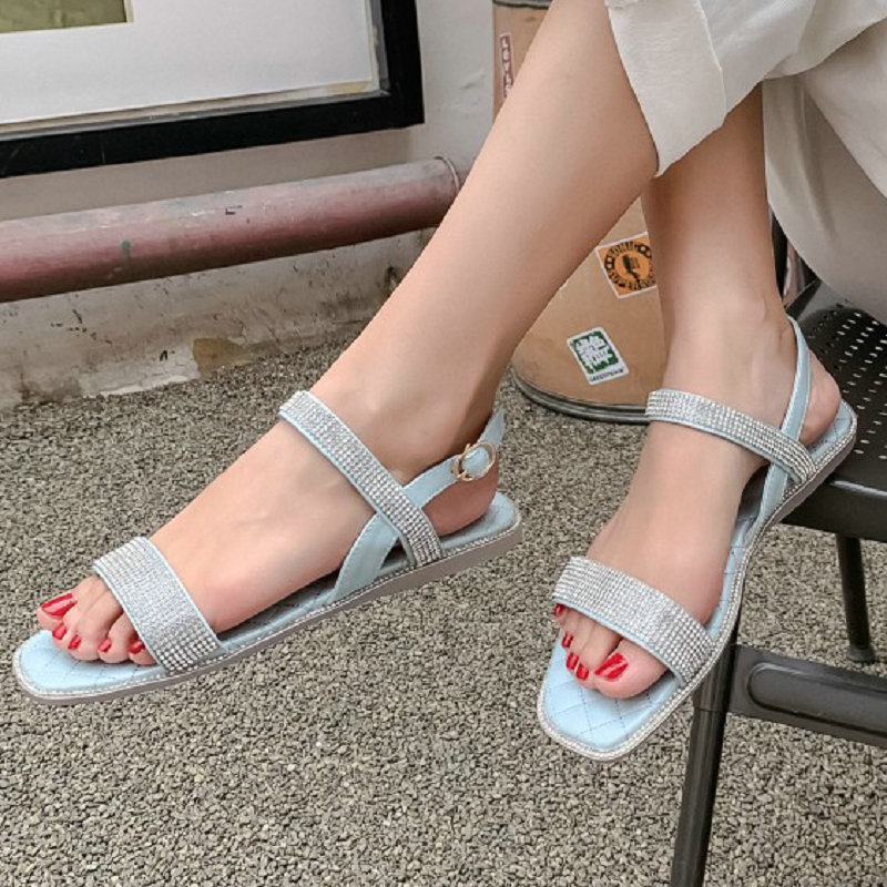 ZawsThia 2020 bling rhinestone crystal open women's sandals yellow white casual flat sandals woman summer shoes big size 45 46