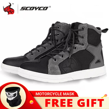 SCOYCO Motorcycle Boots Men Casual Shoes Microfiber Leather Moto Motocross Riding Boots Summer Breathable Motorbike Shoes