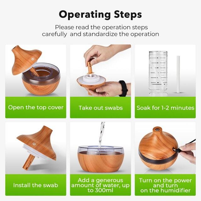 Saengq umidificador elétrico essencial aroma difusor de óleo ultra-sônico madeira grão umidificador ar usb mini névoa fabricante luz led 5