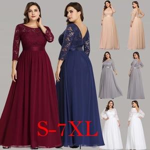 Image 2 - Navy Blue Women Dress 2020 New Arrival Elegant A Line O Neck Three Quarter Sleeve Lace Party Dress Robe Femme Long Chiffon Dress